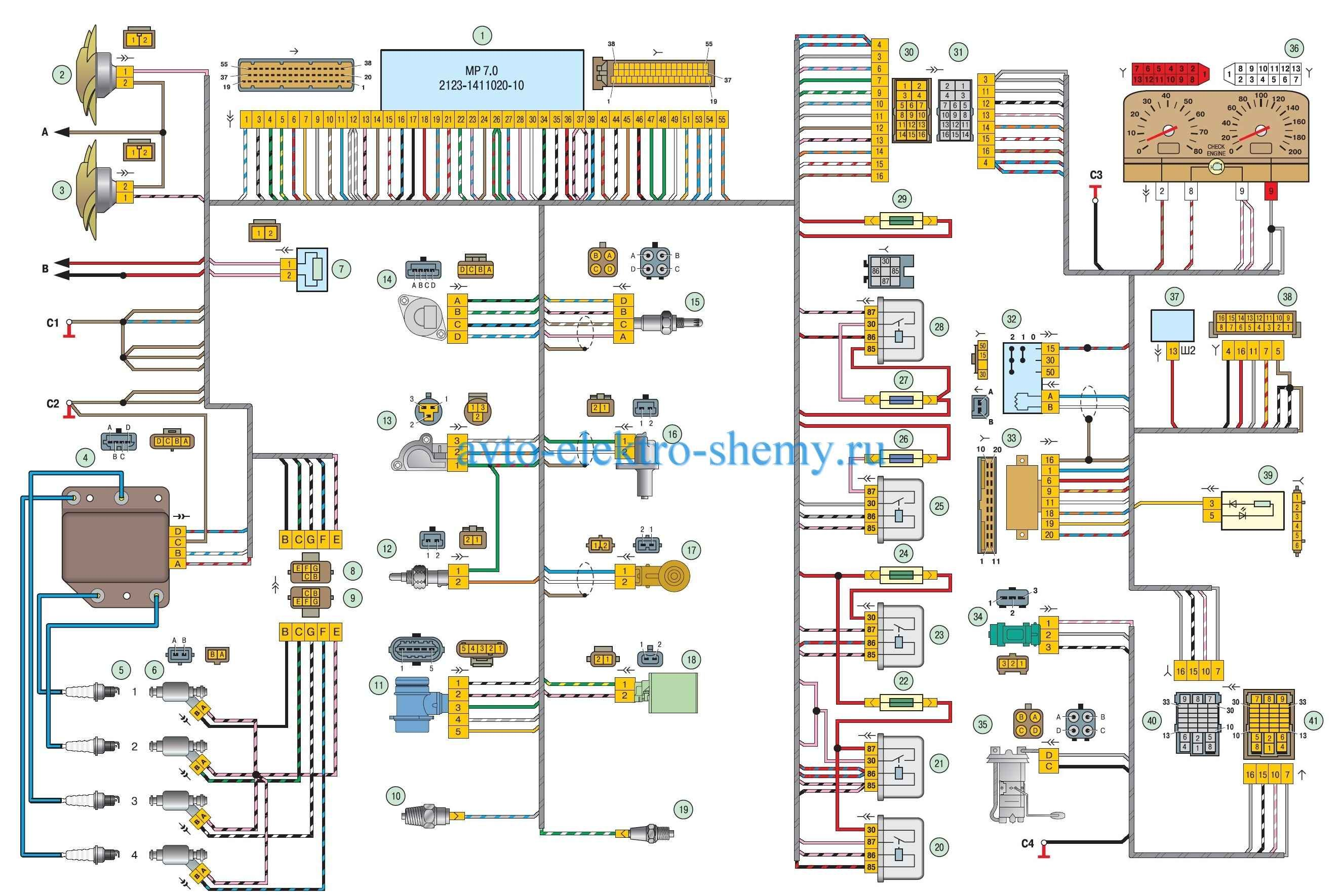 Схема электрических соединений ЭСУД АЗ-2123