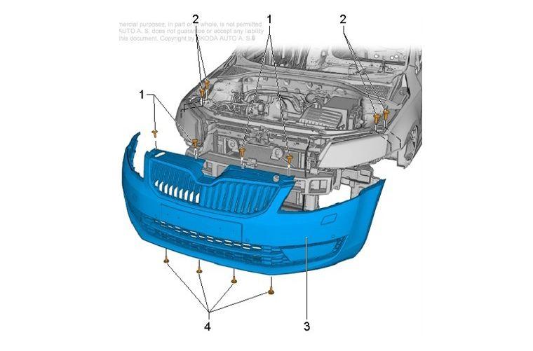 Схема снятия бампера с указаниями крепежей