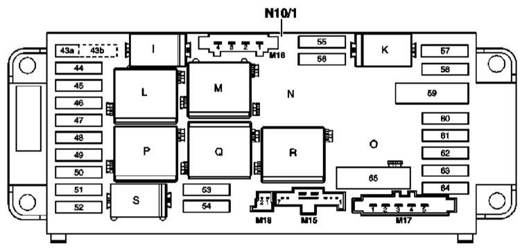 Схема блока предохранителей моторного отсека w203